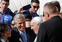 Pope Francis greets former Italian boxer Giovanni Benvenuti, also known as Nino, gold medal at Rome's Olympic Games in 1960, at the end of the weekly general audience in St. Peter's Square at the Vatican City, October 16, 2019.<br /> UPDATE IMAGES PRESS/Riccardo De Luca<br /> <br /> STRICTLY ONLY FOR EDITORIAL USE