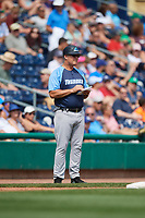 Trenton Thunder manager Jay Bell (11) during a game against the Hartford Yard Goats on August 26, 2018 at Dunkin' Donuts Park in Hartford, Connecticut.  Trenton defeated Hartford 8-3.  (Mike Janes/Four Seam Images)