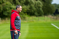 Wednesday 26 July 2017<br /> Pictured: Manager of Swansea City, Paul Clement looks one during training <br /> Re: Swansea City FC Training session takes place at the Fairwood Training Ground, Swansea, Wales, UK