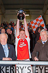 Brosna Captain Don McAuliffe lifts the cup after they won the Munster Junior final against Glin in Mallow on Sunday