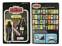 BNPS.co.uk (01202) 558833. <br /> Pic: VectisAuctions/BNPS<br /> <br /> Pictured: This Palitoy Star Wars The Empire Strikes Back vintage Darth Vader figure, with packaging adapted in factory, sold for £5,040. <br /> <br /> Three rare Star Wars toys still in their original packaging have sold for a combined £20,000.<br /> <br /> The 41-year-old toy figures are of Darth Vader, a Jawa and the cult bounty hunter Boba Fett.<br /> <br /> They were made by British toy manufacturers Palitoy to coincide with the release of the movie 1980 The Empire Strikes Back.