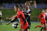 Stephanie Suenens of Woluwe (17) and Chloe Van Mingeroet of Aalst  (17) in action  during a female soccer game between FC Femina White Star Woluwe and Eendracht Aalst on the sixth matchday of the 2020 - 2021 season of Belgian Scooore Womens Super League , friday 6 th of November 2020  in Woluwe , Belgium . PHOTO SPORTPIX.BE | SPP | SEVIL OKTEM