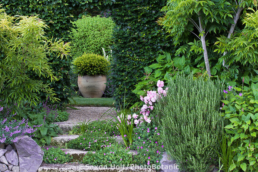 Urn focal point at end of path leading through Copper Beech hedge into garden room of Gary Ratway garden
