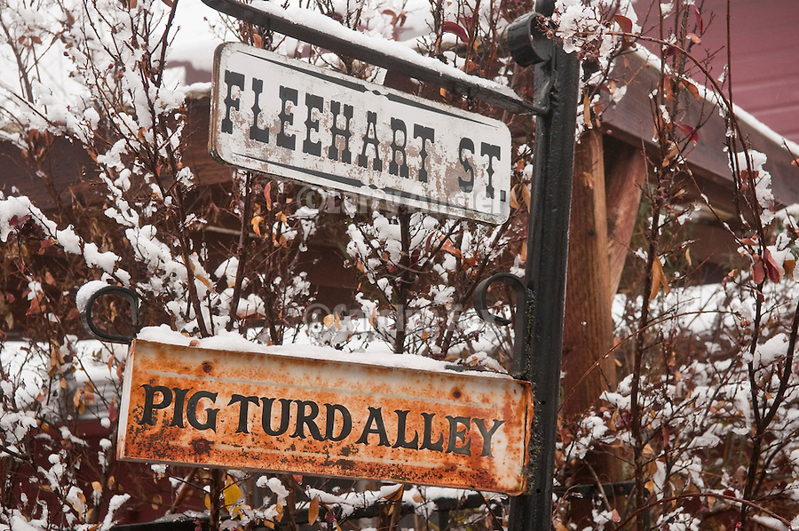 Pig Turd Alley at Fleehart Street in the Mother Lode city of Amador City, Calif., dusted with winter snow.