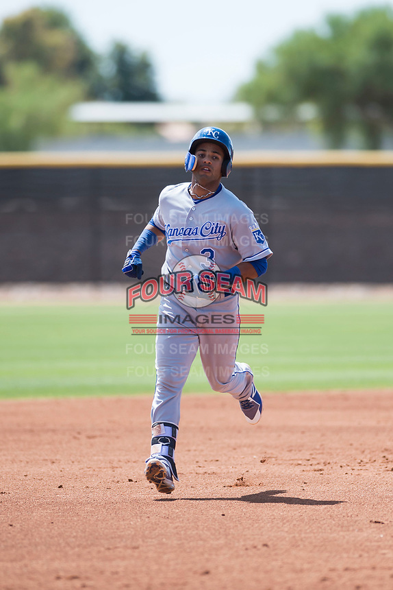 AZL Royals second baseman Rubendy Jaquez (3) rounds the bases after hitting a home run during an Arizona League game against the AZL Padres 1 at Peoria Sports Complex on July 4, 2018 in Peoria, Arizona. The AZL Royals defeated the AZL Padres 1 5-4. (Zachary Lucy/Four Seam Images)