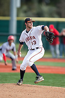 Virginia Cavaliers relief pitcher Alec Bettinger (13) in action against the Hartford Hawks at The Ripken Experience on February 27, 2015 in Myrtle Beach, South Carolina.  The Cavaliers defeated the Hawks 5-1.  (Brian Westerholt/Four Seam Images)
