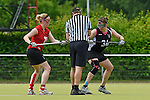 GER - Hannover, Germany, May 30: During the Women Lacrosse Playoffs 2015 match between SCC Blax Berlin (red) and KIT SC Karlsruhe (black) on May 30, 2015 at Deutscher Hockey-Club Hannover e.V. in Hannover, Germany. Final score 17:7. (Photo by Dirk Markgraf / www.265-images.com) *** Local caption *** Kathrin Wichmann #21 of SCC Blax, Elisabeth Vielhaber #34 of KIT SC Karlsruhe