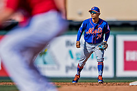 28 February 2019: New York Mets  top prospect infielder Andres Gimenez in action during a Spring Training game against the St. Louis Cardinals at Roger Dean Stadium in Jupiter, Florida. The Mets defeated the Cardinals 3-2 in Grapefruit League play. Mandatory Credit: Ed Wolfstein Photo *** RAW (NEF) Image File Available ***