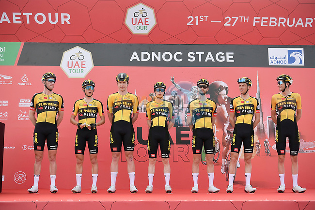 Jumbo-Visma at sign on before the start of Stage 1 of the 2021 UAE Tour the ADNOC Stage running 176km from Al Dhafra Castle to Al Mirfa, Abu Dhabi, UAE. 21st February 2021.  <br /> Picture: LaPresse/Fabio Ferrari | Cyclefile<br /> <br /> All photos usage must carry mandatory copyright credit (© Cyclefile | LaPresse/Fabio Ferrari)