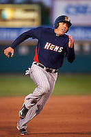 Toledo Mudhens first baseman Mike Hessman (27) runs the bases during a game against the Rochester Red Wings on May 12, 2015 at Frontier Field in Rochester, New York.  Toledo defeated Rochester 8-0.  (Mike Janes/Four Seam Images)