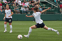 USWNT's Megan Rapinoe stretches out for a shot. The U.S. Women's National Team defeated Canada 1-0 in a friendly match at Marina Auto Stadium in Rochester, NY on July 19, 2009. Abby Wambach of the USWNT scored her 100th career goal in the second half..