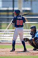 Atlanta Braves Derian Cruz (20) during a Minor League Extended Spring Training game against the Tampa Bay Rays on April 15, 2019 at CoolToday Park Training Complex in North Port, Florida.  (Mike Janes/Four Seam Images)