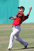 Daniel Carroll #7 of the High Desert Mavericks makes a throw during game against the Lake Elsinore Storm at Mavericks Stadium in Adelanto,California on June 12, 2011. Photo by Larry Goren/Four Seam Images