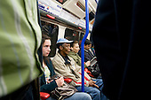 Passengers on a London Underground train