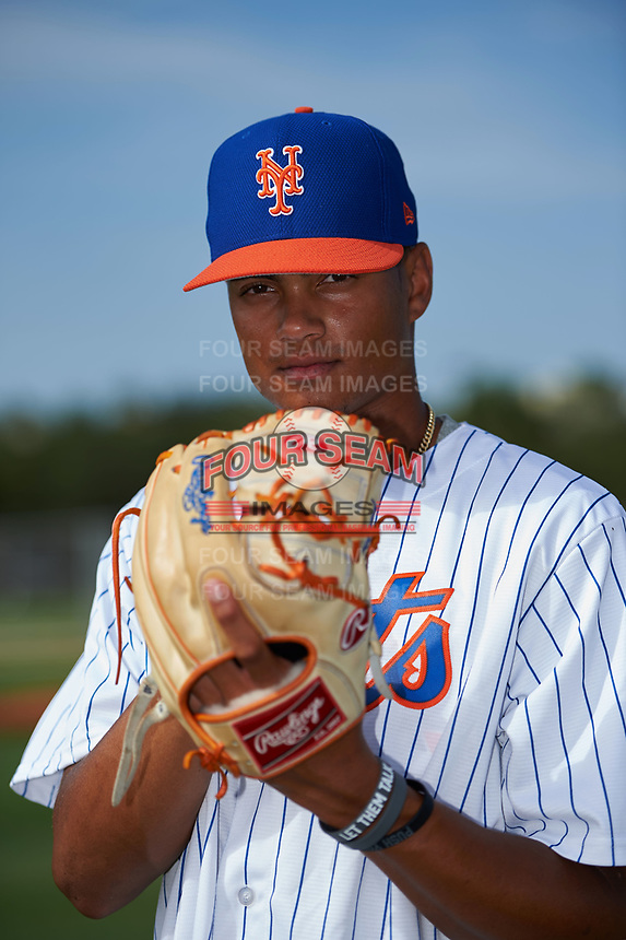 GCL Mets pitcher Matt Cleveland poses for a photo before during a game against the GCL Cardinals on July 23, 2017 at Roger Dean Stadium Complex in Jupiter, Florida.  GCL Cardinals defeated the GCL Mets 5-3.  (Mike Janes/Four Seam Images)