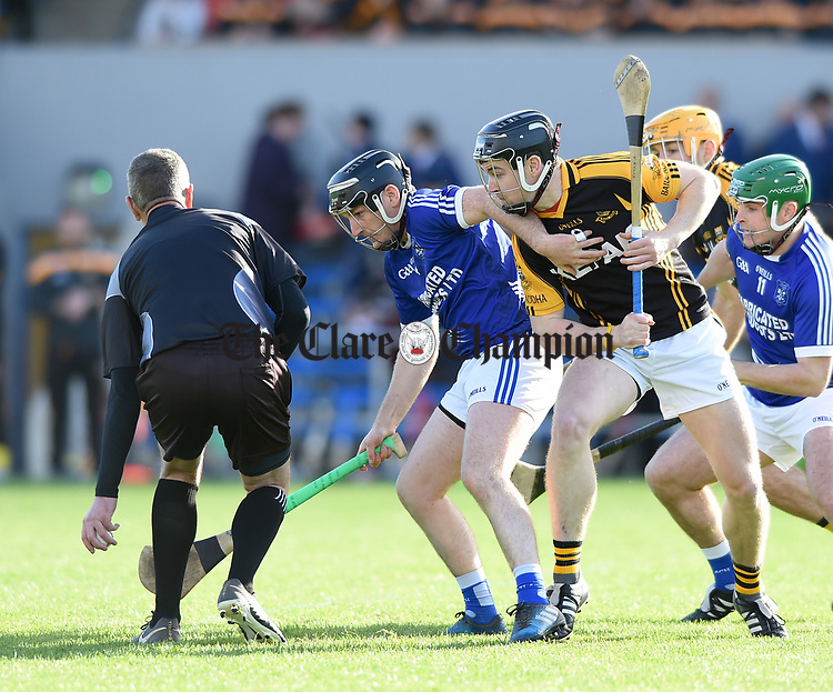 Enda Boyce of Cratloe  against Tony Kelly of  Ballyea for the throw-in during the county senior hurling final at Cusack Park. Photograph by John Kelly.