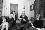 Derry Northern Ireland Londonderry. 1983. The Quigley family at home. Mrs Quigley, daughter Olive, Mr Quigley and Gerard, brother of Robert (Bobby) Quigley who is an informer for the RUC Royal Ulster Constabulary.