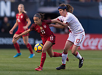 San Diego, CA - January 21, 2018: The USWNT defeated Denmark 5-1 during an international friendly at SDCCU Stadium.San Diego, CA - January 21, 2018: The USWNT defeated Denmark 5-1 during an international friendly at SDCCU Stadium.