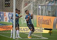 18th November 2020; Arena de Gremio, Porto Alegre, Brazil; Brazil Cup, Gremio versus Cuiaba; Diego Souza of Gremio in the netting and celebrates his goal in the 10th minute 1-0