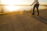 Rollerblading along the Columbia River, Vancouver, Washington