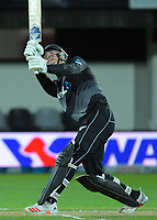 NZ's Finn Allen hits the ball onto the roof during the second International T20 cricket match between the New Zealand Black Caps and Bangladesh at McLean Park in Napier, New Zealand on Tuesday, 30 March 2021. Photo: Dave Lintott / lintottphoto.co.nz