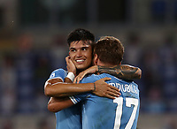 Football, Serie A: S.S. Lazio - Brescia, Olympic stadium, Rome, July 29, 2020. <br /> Lazio's Ciro Immobilel (r) celebrates after scoring with his teammate Carlos Joaquin Correa (l) during the Italian Serie A football match between S.S. Lazio and Brescia at Rome's Olympic stadium, Rome, on July 29, 2020. <br /> UPDATE IMAGES PRESS/Isabella Bonotto