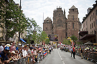 stage 14 start zone in front of the impressive cathedral of Rodez<br /> <br /> stage 14: Rodez - Mende (178km)<br /> 2015 Tour de France