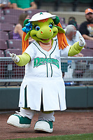 """Dayton Dragons mascot """"Gem"""" entertains fans prior to the game against the Bowling Green Hot Rods at Fifth Third Field on June 9, 2018 in Dayton, Ohio. The Hot Rods defeated the Dragons 1-0.  (Brian Westerholt/Four Seam Images)"""