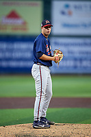 Danville Braves relief pitcher Zach Guth (18) gets ready to deliver a pitch during a game against the Johnson City Cardinals on July 28, 2018 at TVA Credit Union Ballpark in Johnson City, Tennessee.  Danville defeated Johnson City 7-4.  (Mike Janes/Four Seam Images)