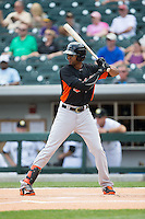 Henry Urrutia (51) of the Norfolk Tides at bat against the Charlotte Knights at BB&T BallPark on June 7, 2015 in Charlotte, North Carolina.  The Tides defeated the Knights 4-1.  (Brian Westerholt/Four Seam Images)
