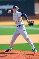 Relief pitcher Bobby Kirby #34 of the Georgetown Hoyas in action against the Delaware State Hornets at Gene Hooks Field on February 26, 2011 in Winston-Salem, North Carolina.  Photo by Brian Westerholt / Four Seam Images