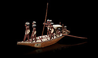 Ancient Egyptian wooden model boat from tomb of Shemes,  Middle Kingdom (1980-1700 BC), Asyut. Egyptian Museum, Turin. black background<br /> <br /> In 1908 in Asyut, Egypt an intact tomb was discovered of an official named Shemes, it contained many rich grave goods. Two rectangular Coffins, one for Shemes and the other for a woman called Rehuerausen, possibly his wife. They carry typical Middle Kingdom decorations,