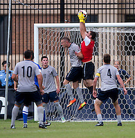 Tomas Gomez (1) of Georgetown makes a save during the game at Shaw Field on the campus of the Georgetown University in Washington, DC.  Georgetown tied Creighton, 0-0, in double overtime.
