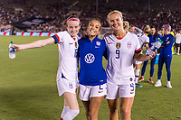 PASADENA, CA - AUGUST 4: Rose Lavelle #16, Mallory Pugh, #2 and Lindsey Horan #9 pose during a game between Ireland and USWNT at Rose Bowl on August 3, 2019 in Pasadena, California.