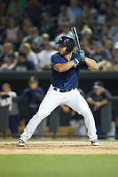 Tim Tebow (15) of the Columbia Fireflies at bat against the Charleston RiverDogs at Spirit Communications Park on June 9, 2017 in Columbia, South Carolina.  The Fireflies defeated the RiverDogs 3-1.  (Brian Westerholt/Four Seam Images)