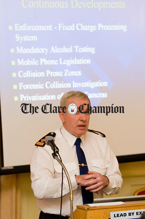 Chief Superintendent John Farrelly speaking at the Safe Driving Pledge Conference at the Old Ground hotal in Ennis. Photgraph by John Kelly.
