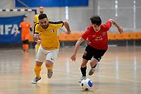 Kareem Osman of Capital and Daniel Oakman of Canterbury during the Men's Futsal SuperLeague, Canterbury United Futsal Dragons v Capital Futsal at ASB Sports Centre, Wellington on Saturday 31 October 2020.<br /> Copyright photo: Masanori Udagawa /  www.photosp ort.nz