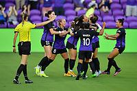 ORLANDO, FL - APRIL 21: Sydney Leroux celebrates her goal with teammates during a game between Washington Spirit and Orlando Pride at Exploria Stadium on April 21, 2021 in Orlando, Florida.