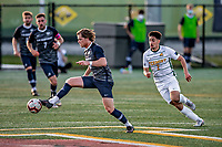 9 April 2021: University of New Hampshire Wildcat Men's Soccer Midfielder Linus Fallberg, a Senior from Jonkoping, Sweden, in second-half action against the University of Vermont Catamounts at Virtue Field in Burlington, Vermont. The Wildcats defeated the Catamounts 2-1 in America East, Division 1 play. Mandatory Credit: Ed Wolfstein Photo *** RAW (NEF) Image File Available ***