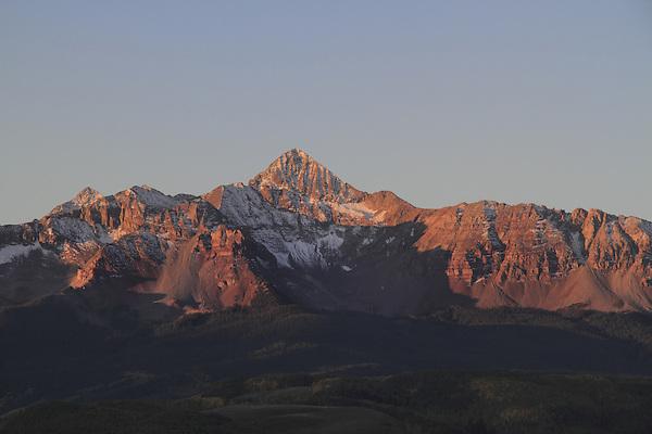 Wilson Peak (14,017 ft), sunrise, autumn San Juan Mountains, Colorado.