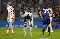 Pictured L-R: Oliver McBurnie and Leroy Fer of Swansea City show their frustration after the final whistle Saturday 27 August 2016<br />