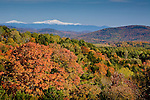Autumn view of the Green and White Mountain ranges from Danville, VT, USA