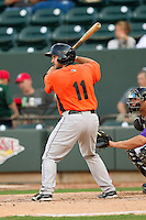 Allan de San Miguel (11) of the Frederick Keys at bat against the Winston-Salem Dash at BB&T Ballpark on May 28, 2013 in Winston-Salem, North Carolina.  The Dash defeated the Keys 17-5 in the first game of a double-header.  (Brian Westerholt/Four Seam Images)