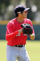 Boston Red Sox minor league player James Kang #5 during a spring training game vs the Baltimore Orioles at the Buck O'Neil Complex in Sarasota, Florida;  March 22, 2011.  Photo By Mike Janes/Four Seam Images