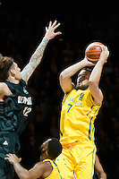 Melbourne, 15 August 2015 - Adam GIBSON of Australia takes a shot in game one of the 2015 FIBA Oceania Championships in men's basketball between the Australian Boomers and the New Zealand Tall Blacks at Rod Laver Arena in Melbourne, Australia. Aus def NZ 71-59. (Photo Sydney Low / sydlow.com)