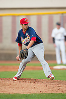 Johnson City Cardinals relief pitcher Harley Holt (34) in action against the Bristol Pirates at Boyce Cox Field on July 7, 2015 in Bristol, Virginia.  The Cardinals defeated the Pirates 4-1 in game one of a double-header. (Brian Westerholt/Four Seam Images)
