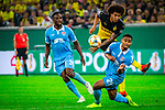09.08.2019, Merkur Spiel-Arena, Düsseldorf, GER, DFB Pokal, 1. Hauptrunde, KFC Uerdingen vs Borussia Dortmund , DFB REGULATIONS PROHIBIT ANY USE OF PHOTOGRAPHS AS IMAGE SEQUENCES AND/OR QUASI-VIDEO<br /> <br /> im Bild | picture shows:<br /> Jean Manuel Mbom (KFC Uerdingen #21) blockt den Torschuss von Axel Witsel (Borussia Dortmund #28), <br /> <br /> Foto © nordphoto / Rauch