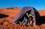 Campement dans les dunes de l'erg Chebbi. Grand sud marocain. Maroc