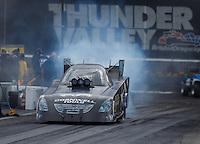 Jun 18, 2016; Bristol, TN, USA; NHRA funny car driver Jim Campbell during qualifying for the Thunder Valley Nationals at Bristol Dragway. Mandatory Credit: Mark J. Rebilas-USA TODAY Sports
