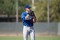 Los Angeles Dodgers relief pitcher Stephen Kolek (67) gets ready to deliver a pitch during an Instructional League game against the Milwaukee Brewers at Maryvale Baseball Park on September 24, 2018 in Phoenix, Arizona. (Zachary Lucy/Four Seam Images)